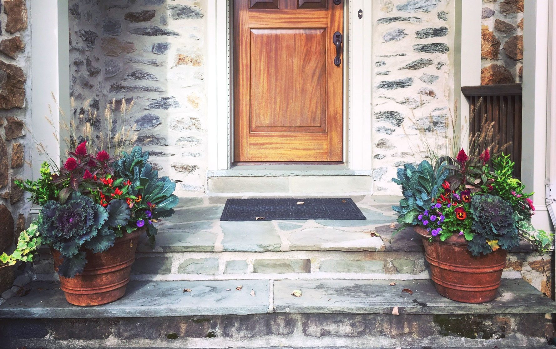 Two Front Door Fall Planter Arrangements