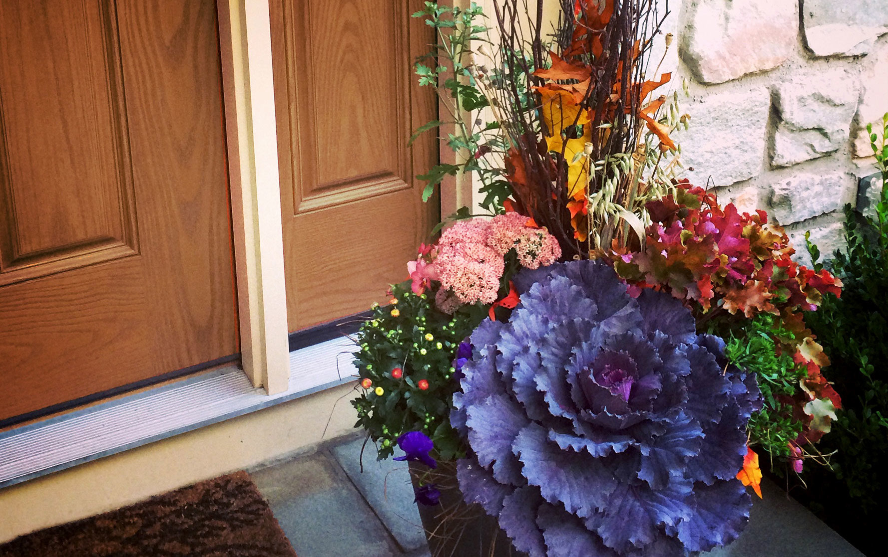 Fall Planter by Front Door