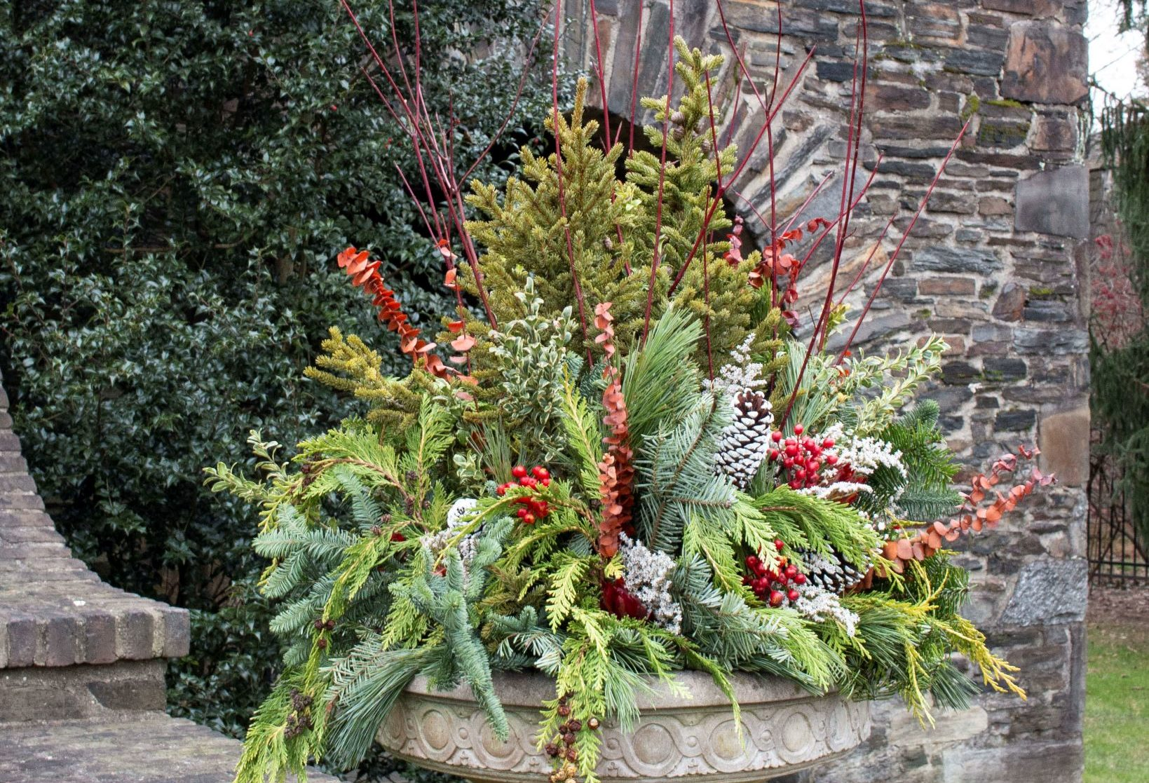 Winter Planter Arrangement in cement planter