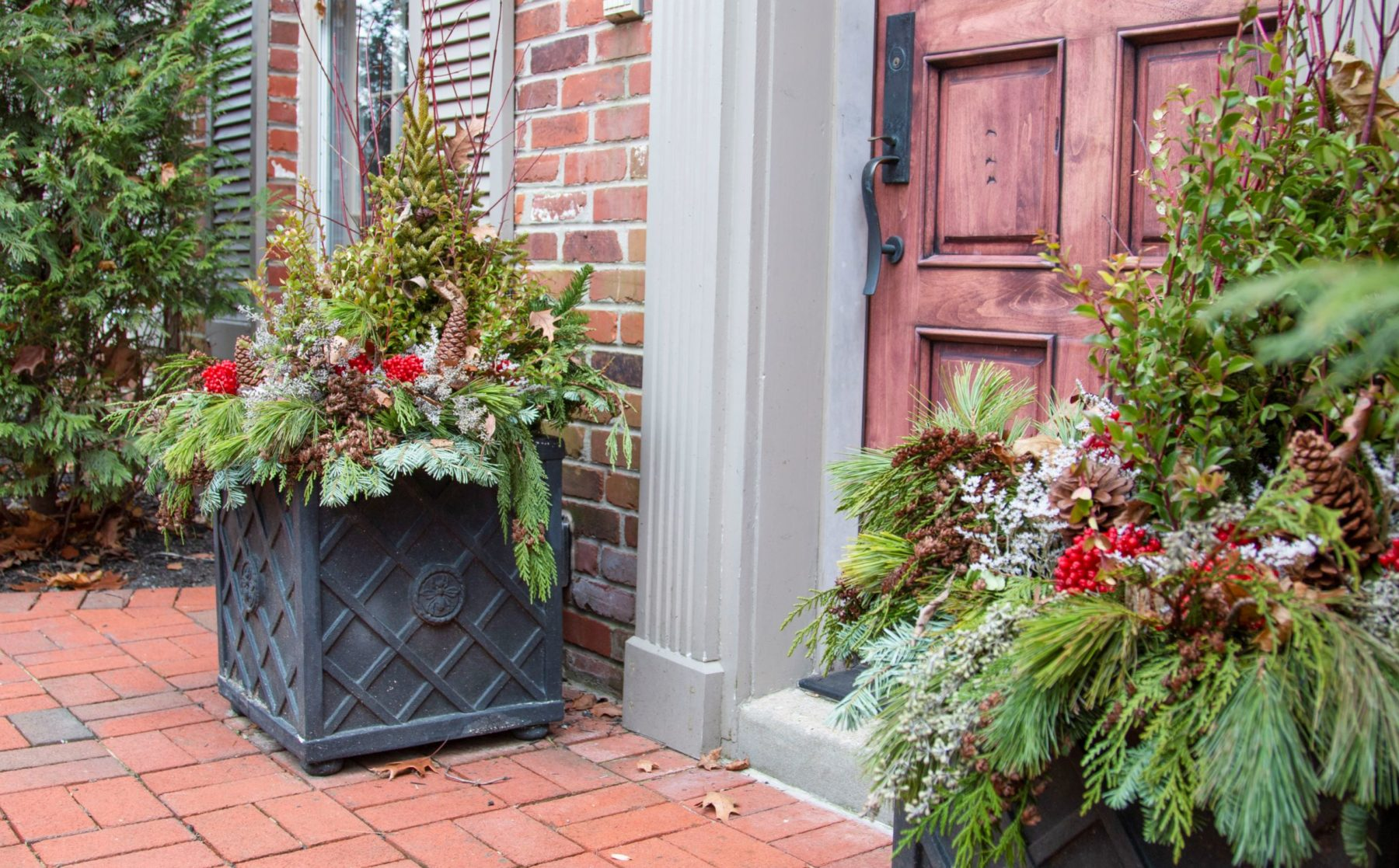 Front Door Winter Planter Arrangements